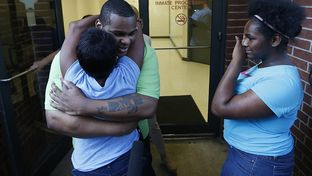 Alfred Dewayne Brown hugs his sister Connie Brown on the day of his release, June 8, 2015.