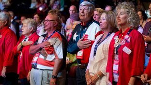 Front row delegates at Day 3 of the Texas Republican Convention in Fort Worth, Saturday June 7, 2014.