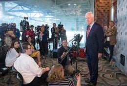 U.S. Sen John Cornyn details his meeting with Republican presumptive nominee Donald Trump during a press conference May 13, 2016 in Dallas