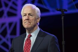 U.S. Sen. John Cornyn wraps up his keynote address to delegates at the Republican Party of Texas convention in Dallas on May 13, 2016.