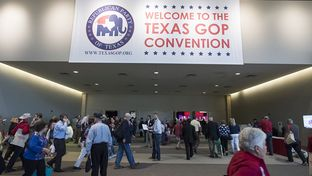 The entrance to the 2016 Republican Party of Texas convention at the Kay Bailey Hutchison Convention Center in Dallas.
