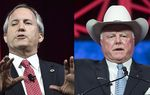 Texas Attorney General Ken Paxton (l.) and Agriculture Commissioner Sid Miller. Both spoke at the state GOP convention in Dallas Texas on May 14, 2016.