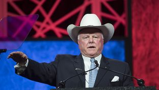 Texas Agriculture Commissioner Sid Miller wraps up a speech to delegates at the Republican Party of Texas event on May 14, 2016.