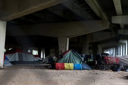 While Dallas' largest homeless encampment was cleared out in early May, others like this have formed under I-30 east of downtown.