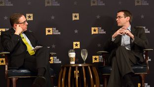 Texas Education Commissioner Mike Morath, right, discusses public education with Texas Tribune CEO Evan Smith at the Austin Club in Austin on May 17, 2016.