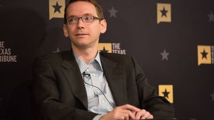 Texas Education Agency Commissioner Mike Morath discusses public education issues with Tribune CEO Evan Smith at the Austin Club in Austin, Texas on May 17, 2016.