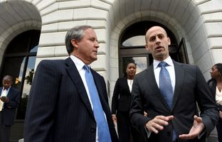 Attorney General Ken Paxton and Solicitor General Scott Keller after oral arguments on the voter ID case before the U.S. 5th Circuit of Appeals in New Orleans on May 24, 2016.