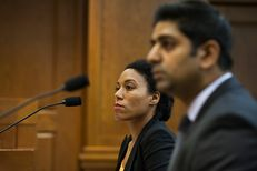 Rena Davis, left, a public policy manager for Lyft, and Sarfraz Maredia, right, general manager for Uber in Texas, testify before the House Committee on Business and Industry on June 8, 2016.