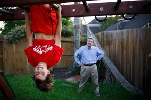 Benjamin Elder, 10, who is obsessed with the show American Ninja Warrior, has been working on his backyard jungle gym with his father Jim Elder to match the show in his back yard in Pearland, Texas Tuesday, June 7, 2016.
