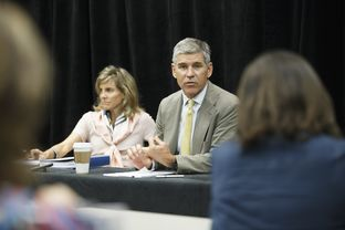 The University of Texas System's Houston Advisory Task Force, Carin Barth, left, and Paul Hobby, right, during a press conference in Houston Monday, June 13, 2016 reguarding plans for the 300 acres it has purchased in southwest Houston.