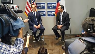 Julián and Joaquin Castro speak to media during the Texas Democratic Convention on June 17, 2016.