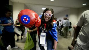Hillary Clinton supporter, Kim Fredrick during the Texas Democratic Convention on June 17, 2016