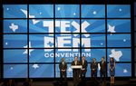 Speakers onstage at the state Democratic convention at the Alamodome in San Antonio on June 17, 2016.