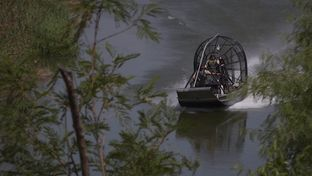 United States Border Patrol agents patrol a portion of the Rio Grande river between Roma, Texas and Miguel Aléman, Tamaulipas.