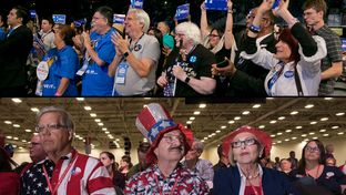 Attendees at the Texas Democratic Convention in San Antonio (top) and the Republican Party of Texas Convention in Dallas (bottom)