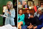 Left: Wendy Davis is shown during her 2013 filibuster in the Texas Senate. Right: U.S. House Democrats staged a sit-in on June 22, 2016, in their bid to pass gun control legislation.