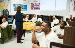 Wyndham School District teacher Jody Addy teaches a class at the Robertson Unit in Abilene, Texas on December 4, 2015. Addy has taught correctional education for 20 years and recently received the 2014-2015 Lane Murray Excellence in Teaching. (Cooper Neill for The Texas Tribune)