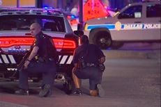 Dallas Police responding to an active shooter situation downtown on Thursday, July 7, 2016.