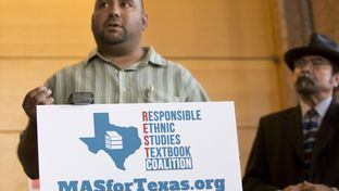 Dr. Christopher Carmona, chair of the National Association of Chicana and Chicano Studies-Tejas Foco's Committee on Pre K-12 Edu. in Texas Schools speaks during a press conference on July 18, 2016