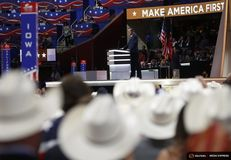Former Republican U.S. presidential candidate Cruz speaks as the Texas delegation looks on during the third night of the Republican National Convention in Cleveland, Ohio on July 20, 2016.