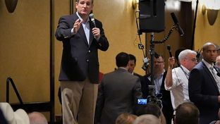 U.S. Sen. Ted Cruz speaks to the Texas delegation at the 2016 Republican National Convention in Cleveland, Ohio on July 21, 2016.