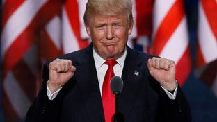 Republican Presidential nominee Donald Trump speaks at the final session of the Republican National Convention in Cleveland, Ohio on July 21, 2016.