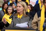 Texans for Education Opportunity Executive Director Randan Steinhauser, also an adviser for National School Choice Week, speaks during a school choice rally at the Texas Capitol in 2015.