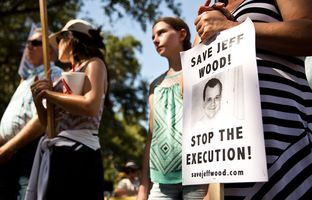 Supporters of Jeff Wood gathered on July 23, 2016, in front of the Governor's Mansion to rally against his scheduled August execution.