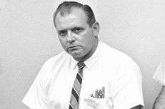 Allen Crum at a press conference on Aug. 2, 1966. Crum, an employee at an off-campus bookstore, joined police at the top of the University of Texas Tower to stop sniper Charles Whitman.