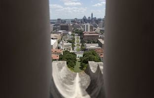 Southbound view through one of the UT Tower rain spouts that Charles Whitman used to fire on his victims in 1966. Photo taken June 22, 2016.