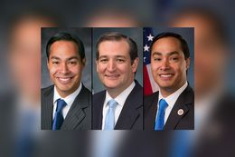 U.S. Housing and Urban Development Secretary Julián Castro (left), U.S. Sen. Ted Cruz and U.S. Rep. Joaquín Castro, D-San Antonio.