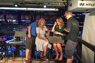 Former state Sen. Wendy Davis getting ready for a television interview inside of the Wells Fargo Center, site of the 2016 Democratic National Convention in Philadelphia, on July 27, 2016.