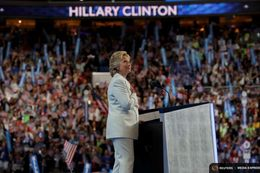 Democratic U.S. presidential nominee Hillary Clinton pust her hand on her heart as she delivers her nomination acceptance speech on the fourth and final night at the Democratic National Convention in Philadelphia, Pennsylvania on July 28, 2016.