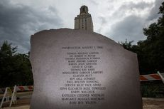 The granite memorial on the campus of the University of Texas at Austin in memory of the victims of Charles Whitman's murderous on-campus shooting spree. The 50th anniversary of the shooting is Aug. 1, 2016.