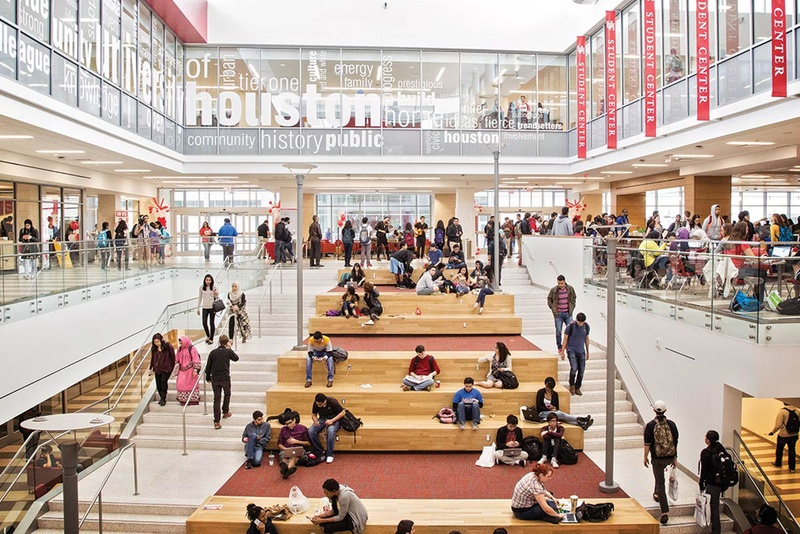 Inside the student center at the University of Houston campus.