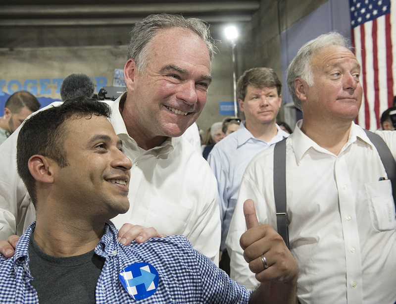 U.S. Sen. Tim Kaine, the 2016 Democratic vice presidential nominee, greeted supporters in Austin with state Sen. Kirk Watson of Austin during a meeting with supporters on Aug. 9, 2016.
