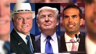 From left: Texas Agriculture Sid Miller, 2016 Republican presidential nominee Donald Trump and Texas Land Commissioner George P. Bush.