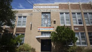 "Russell Lee Elementary was named Robert E. Lee Elementary when it opened in 1939. This year, the Austin ISD Board of Trustees voted to rename the school, making it one of 10 Texas schools that will bear new names when classes begin later this month. The banner shown above replaced art deco-style letters that spelled out ""Robert E. Lee."""