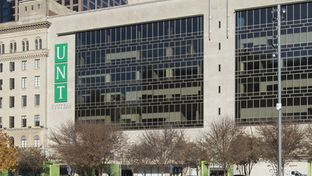 The outside of the University of North Texas System building in downtown Dallas. The building is occupied by the UNT Dallas College of Law, which is at risk of losing its accreditation.