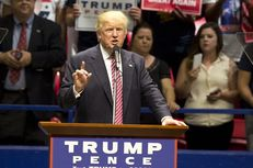 Republican presidential nominee Donald Trump speaks to the crowd during a rally in Austin on Aug. 23, 2016.