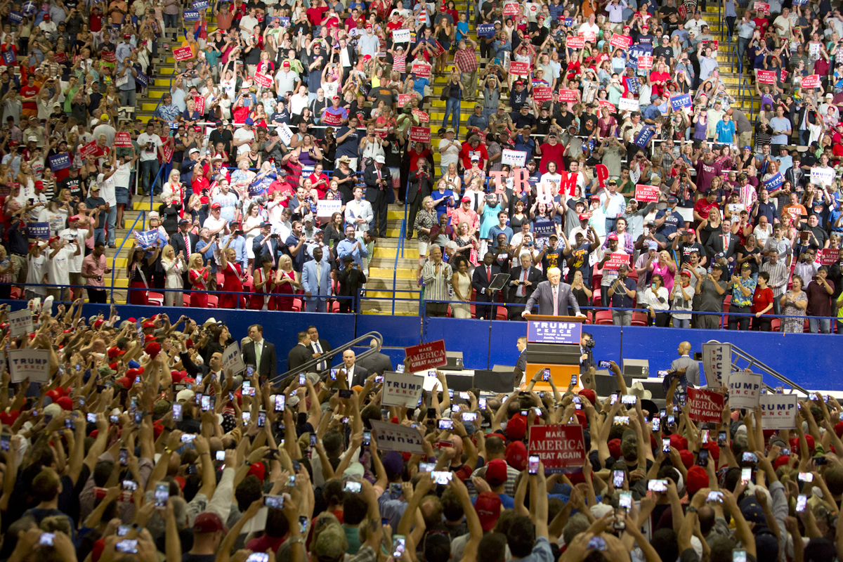 A wide shot of a Trump Rally.