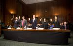 Nominees for Texas federal court vacancies are sworn in as U.S. Senator John Cornyn, R-Texas, chairs a U.S. Senate Judiciary Committee hearing to confirm them, on Capitol Hill in Washington, D.C. on September 7, 2016. Left to right, Walter David Counts, III, E. Scott Frost, James Wesley Hendrix, Irma Carrillo Ramirez and Karen Gren Scholer. The candidates were nominated earlier this year after being recommended by Sens. Cornyn and Ted Cruz to President Obama.