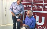Gov. Greg Abbott campaigns with U.S. Rep. Will Hurd, R-San Antonio, on Saturday in the Alamo City. Hurd is in a rematch in November with Alpine Democrat Pete Gallego.