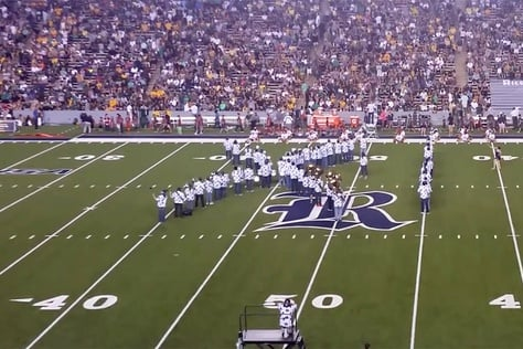 "Rice University' Marching Owl Band forms into ""IX,"" a reference to Title IX rules governing sexual discrimination at colleges, while performing a halftime show mocking Baylor University for its recent sexual assault scandal during a football game on Sept. 16, 2016."