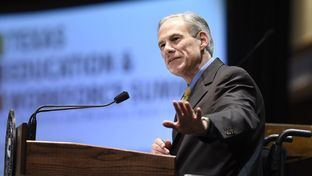 Gov. Greg Abbott speaking on Sept. 19 at a conference hosted by the Higher Education Coordinating Board and the Workforce Commission.