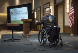 Gov. Greg Abbott acknowledges the crowd of business leaders and educators following his speech Sept. 19, 2016 to the Texas Education & Workforce Summit luncheon on campus.