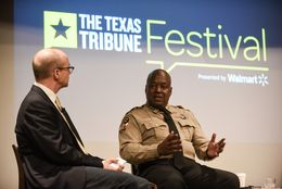 "Jay Root, reporter for The Texas Tribune, moderated the ""Immigration and the Cities"" panel featuring Greg Hamilton and Lupe Valdez at The Texas Tribune Festival on Sept. 24, 2016."