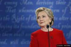 Democratic U.S. presidential nominee Hillary Clinton looks on during her first presidential debate against Republican U.S. presidential nominee Donald Trump at Hofstra University in Hempstead, New York on Sept. 26, 2016. Hillary Clinton looks on.
