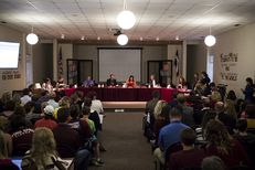 The Dripping Springs Independent School District Board held a public hearing regarding the policy allowing for a transgender third-grade student at Walnut Springs Elementary to use the girls' bathroom in accordance with her gender identity on Monday, September 26, 2016.
