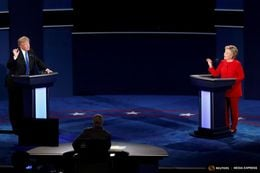 Republican U.S. presidential nominee Donald Trump and Democratic U.S. presidential nominee Hillary Clinton during their first presidential debate at Hofstra University in Hempstead, New York, on Sept. 26, 2016.